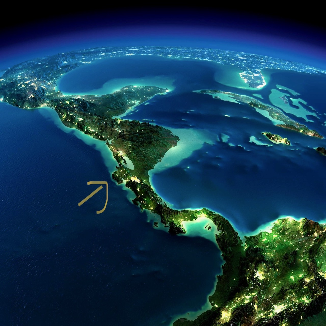 Satellite Photo of Central America