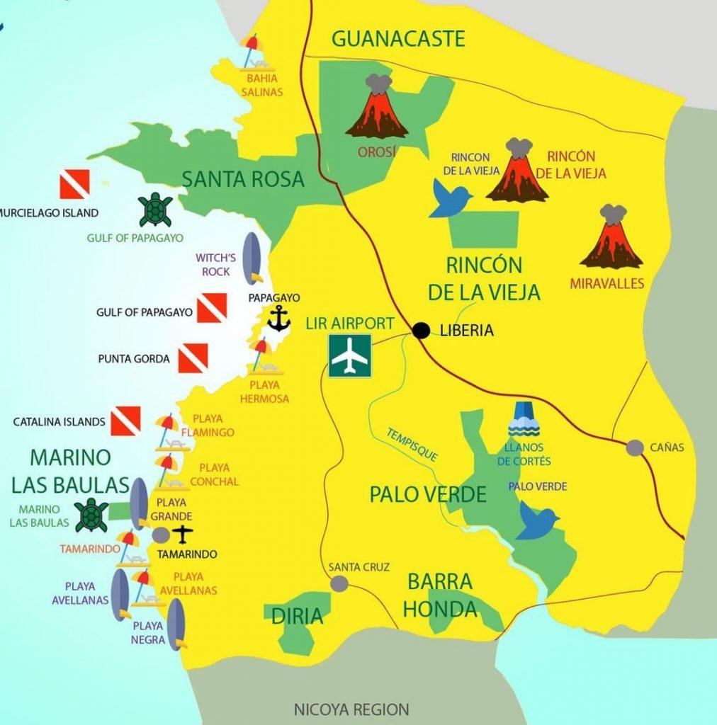 Guanacaste Tourist Map